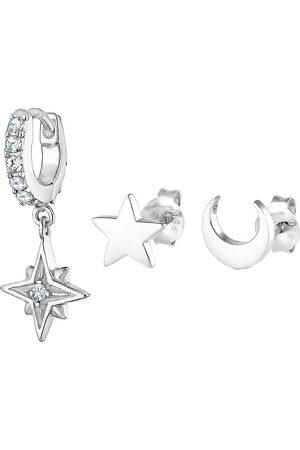 Elli Damen Ohrringe - Ohrringe Stardust 3er Set Kristalle 925 in , Schmuck für Damen