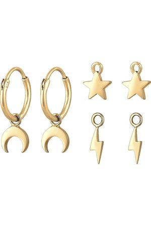 Elli Ohrringe Creole 3-Set Hänger Mond Stern Blitz 925 Silber in , Schmuck für Damen