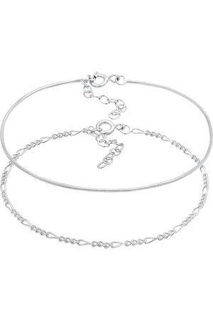 Elli Damen Armbänder - Armband Armkettchen 2er Set Figaro Rund 925 in , Schmuck für Damen