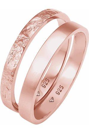 Elli Damen Ringe - Ring 2er Set Bandring Basic Organic-Look 925 Silber in , Schmuck für Damen