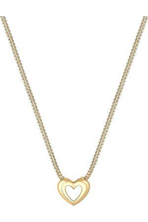 Elli Damen Halsketten - Halskette Panzerkette Herz Anhänger Romantisch 585 Gelbgold in , Schmuck für Damen