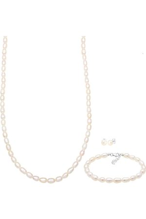 Elli Damen Armbänder - Schmuckset Kette Ohrringe Armband Perlen Basic 925 in , Schmuck für Damen
