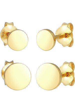 Elli Damen Ohrringe - Ohrringe Disc Plättchen Kreis Basic 2er Set 925 Silber in , Schmuck für Damen