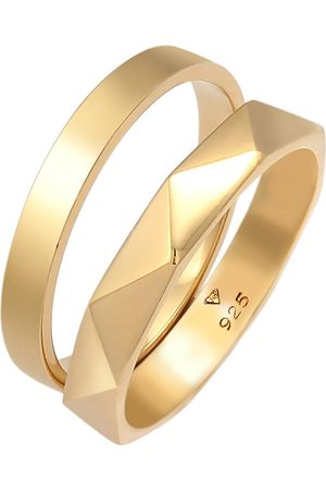 Elli Ring Bandring Basic Hexagon Look 2er Set 925 Silber in , Schmuck für Damen