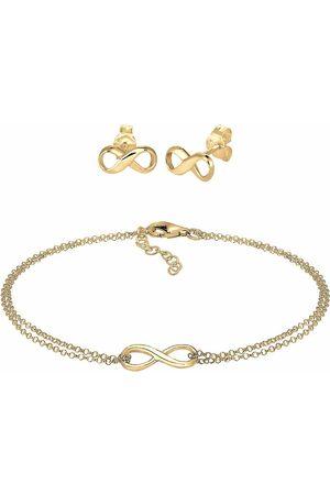 Elli Damen Armbänder - Schmuckset Infinity Symbol Armband Ohrstecker Set 925 Silber in , Schmuck für Damen