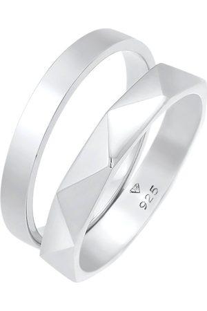 Elli Ring Bandring Basic Hexagon Look 2er Set 925 in , Schmuck für Damen