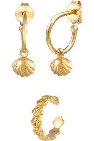 Elli Damen Ohrringe - Ohrringe 2er Set Creolen Earcuff Muschel Meer 925 Silber in , Schmuck für Damen