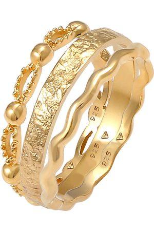 Elli Damen Ringe - Ring 3er Set Wellen Kugel Bandring Gehämmert 925 Silber in , Schmuck für Damen