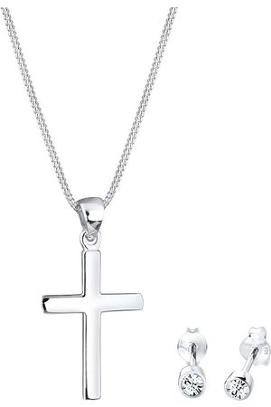Elli Schmuckset Kette Stecker Kreuz Kristalle in , Schmuck für Damen