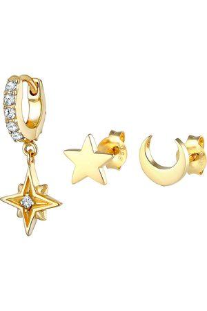 Elli Ohrringe Stardust 3er Set Kristalle 925 Silber in , Schmuck für Damen