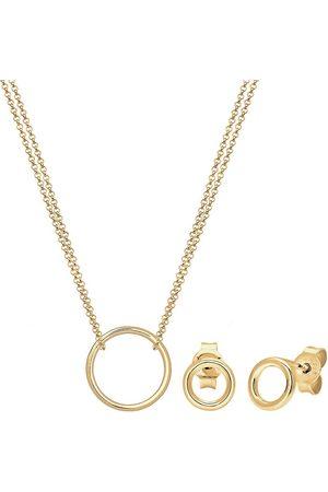 Elli Damen Halsketten - Schmuckset Geo Kreis Basic Minimal 925 Sterling Silber Cercle in , Schmuck für Damen