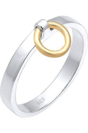 Elli Ring Bandring Kreis Anhänger Bi-Color Geo 925 in , Schmuck für Damen