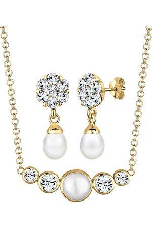 Elli Schmuckset Perle Kristalle 925 Silber in , Schmuck für Damen