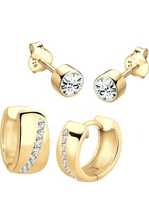 Elli Damen Ohrringe - Ohrringe Creole Set Kristalle Funkelnd Silber in , Schmuck für Damen