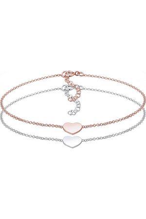 Elli Damen Armbänder - Armband Set Herz Paar Freundschaft Bi-Color 925er in , Schmuck für Damen