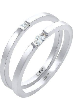Elli Damen Ringe - Ring Ring Solitär Zirkonia Klassik 2er Set 925 in , Schmuck für Damen