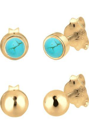Elli Damen Ohrringe - Ohrringe Basic Set Kugel Edelstein 925 Sterling Silber in , Schmuck für Damen