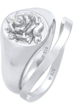 Elli Ring Siegelring Rose Basic Ring 2er Set 925 in , Schmuck für Damen