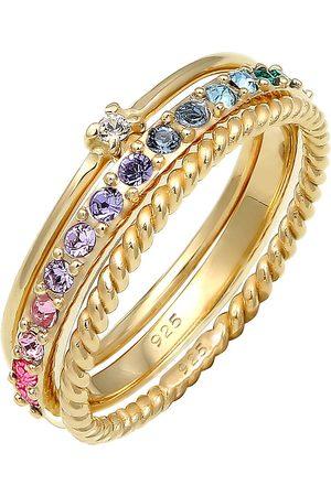 Elli Ring Set Multi-Color Pastell Kristalle 925 Silber in , Schmuck für Damen