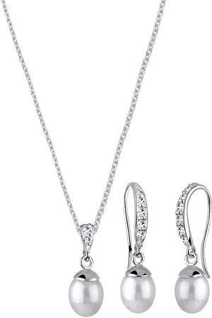 Elli Schmuckset Elegant Perle Kristall 925 in , Schmuck für Damen