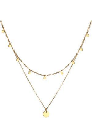 Elli Halskette 2er Set Choker Layer Plättchen Geo 925 Silber in , Schmuck für Damen