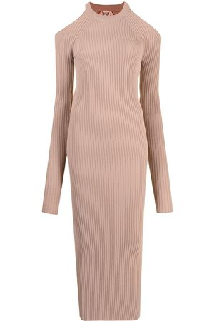 Nº21 Damen Strickkleider - Ribbed-knit long-sleeve dress