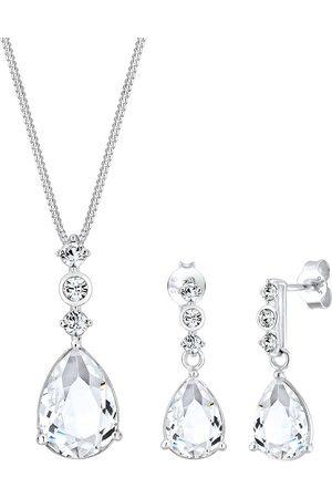 Elli Damen Halsketten - Schmuckset Tropfen Edel Kristalle 925 Sterling in , Schmuck für Damen