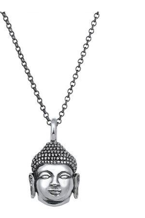 Kuzzoi Herren Halsketten - Halskette Herren Erbskette Buddha Kopf Oxidiert 925 in , für Herren