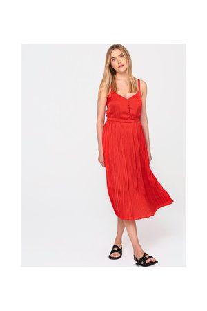 Promod Damen Trägerkleider - Seidiges Plisseekleid