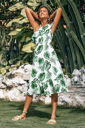 CUPSHE Damen Strandkleider - Eine Schulter-Rüschenkleid im tropischen Stil