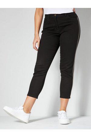 Angel of Style Stretch-Jeans seitlich mit Dekoband und Ketten-Detail