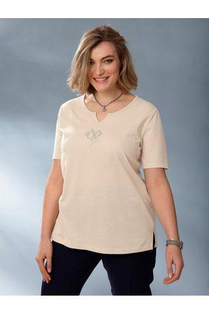 m. collection T-Shirt mit dekorativem Steinchenmotiv vorne