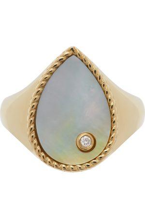 YVONNE LÉON Damen Ringe - Gold Mother-Of-Pearl Pear Signet Ring