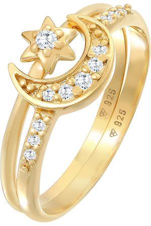 Elli Damen Ringe - Ring Astro, Halbmond, Sterne