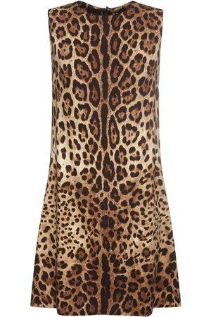 Dolce & Gabbana Minikleid Aus Seide Mit Leopardendruck