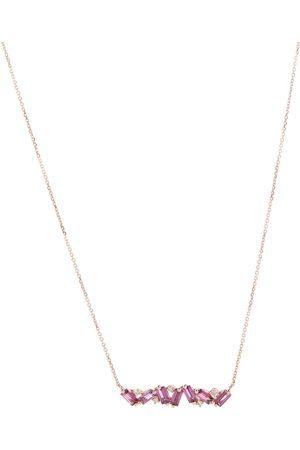 Suzanne Kalan Halskette Frenesia Bar aus 14kt Gelbgold mit Diamanten und Rhodolite