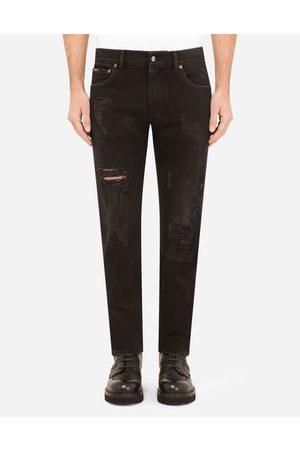Dolce & Gabbana Herren Stretch - Jeans skinny stretch schwarz risse und ausbesserungen male 44