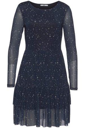 AJC Damen Strickkleider - Volantkleid mit transparenten Effekten