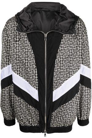Balmain Monogram-print hooded bomber jacket