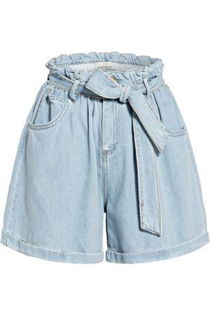 Rinascimento Damen Cropped - Paperbag-Shorts Aus Jeans blau