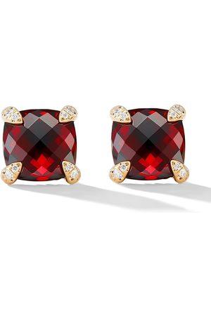 David Yurman 18kt Chatelaine Gelbgoldohrstecker mit Granat und Diamanten