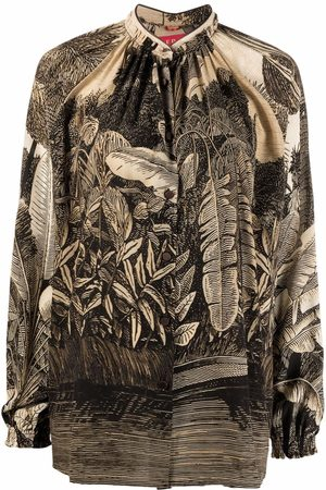 F.R.S For Restless Sleepers Leaf-print silk blouse
