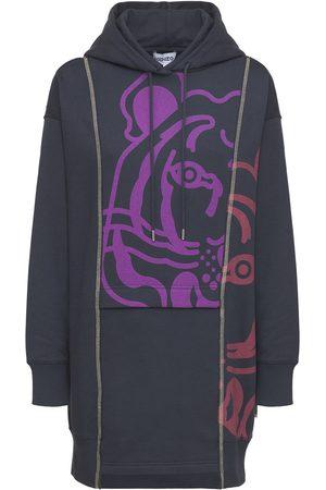 Kenzo Damen Freizeitkleider - Bedrucktes Hoodie-minikleid Mit K-tiger