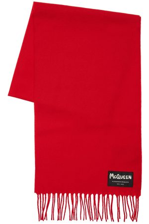 Alexander McQueen Herren Schals - Schal Aus Wolle Mit Graffiti-logo