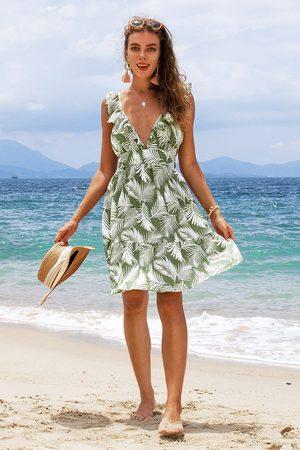 CUPSHE Kleid mit Blattmuster und Rüschen