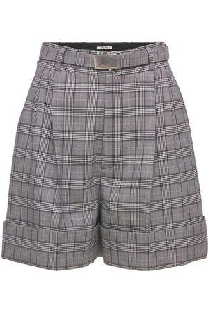 Miu Miu Damen Shorts - Minishorts Aus Merinowoll-prince Of Wales-stoff