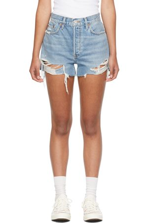 RE/DONE Damen Shorts - Blue 70s High-Rise Shorts