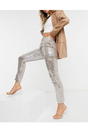 French Connection – Paillettenhose in Roségold-Goldfarben