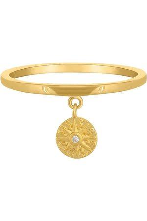 CAÏ Silberring »925 Anhänger Münze vergoldet Sonne Zirkonia«, Silberring poliert, Münze mattiert