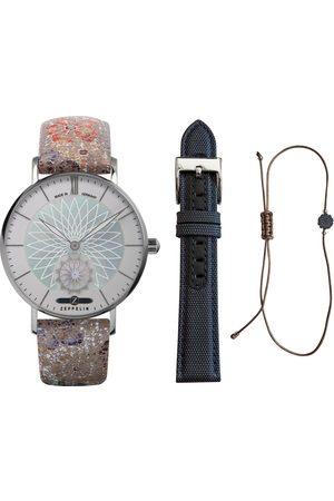 Zeppelin Damen Uhren - Quarzuhr »Mandala, Sommer Set Lady, 8131-1_Sommer«, (Set, 3-tlg., Uhr mit Wechselband und Armband)